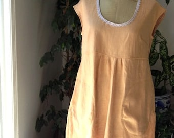 Linen Babydoll dress with pockets. Loose Linen Dress for Women. Cap Sleeves. Jumper. size S/M.   Ready to ship.