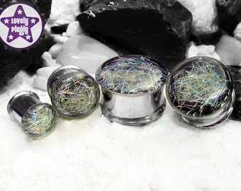 """Subspace Galaxy Plug / Gauge Silver Rainbow Holographic Colour Flash 3/4"""", 7/8"""", 1"""" / 19mm, 20mm, 22mm, 24mm, 25mm"""