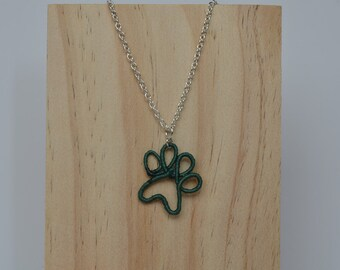 Personalized thread wrapped wire dog paw print necklace
