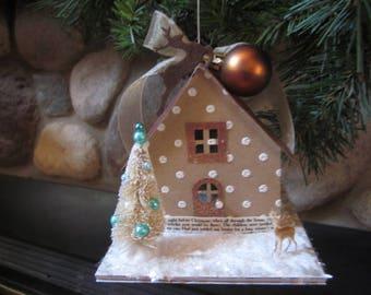 Putz house, christmas, gift, charming, vintage styled,village, deer, bottle brush trees