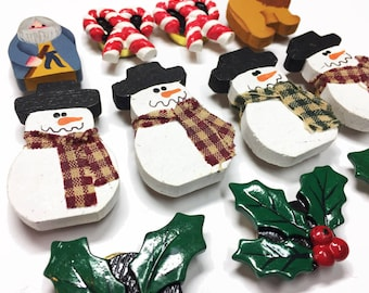 Christmas Destash - Snow Men - Holly - Christmas Craft Supplies - Christmas Card Making Supplies - Holiday Button Covers - B98 - 11 Pieces