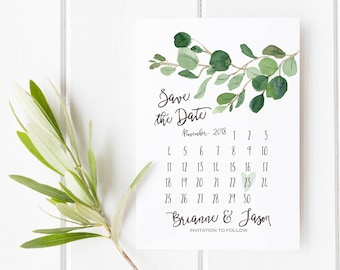 Greenery Save the Date Card, Minimalist Wedding Printable Calendar, Simple Wedding Announcement, Watercolor Eucalyptus, Classy, Modern