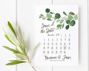 Save the Date Card, Eucalyptus Minimalist Wedding Printable Calendar, Greenery  Simple Wedding Announcement, Watercolor Classy, Modern