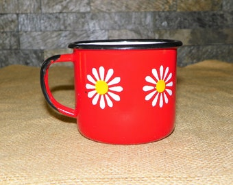 Red Enamel with Daisy Cup with Handle, Made in Poland Metal Cup White inside, Black Trim, Red Mug with Enameled Daisies