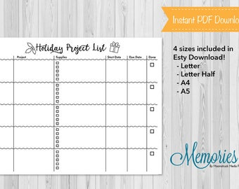 Holiday Craft List, Bullet Journal, Planner Insert, Christmas, Gift Giving, Holiday, Holiday Crafts, BuJo, Printable, Instant Download