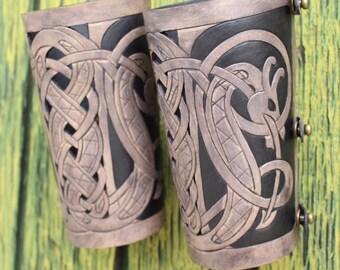 "Leather bracers, Viking- ""Floki"" HALF LENGTH celtic dragon cut-out design"
