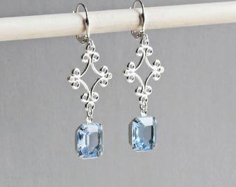 Leichte blaue Ohrringe, Strass Ohrringe mit Silber filigran, Hochzeit Schmuck-Set rsw1