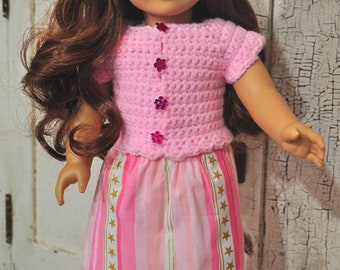 "Adorable pink button up sweater and maxi skirt, for 18"" doll"