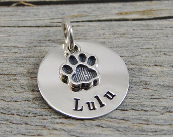 Hand Stamped Jewelry - Personalized Pet Jewelry - Charm For Necklace - Sterling Silver - Paw Print Charm