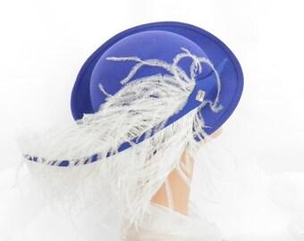 Vintage blue hat, white ostrich feather, bowler tilt