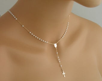 Gold Filled Little Pearl Rosary Necklace w/ Clasp