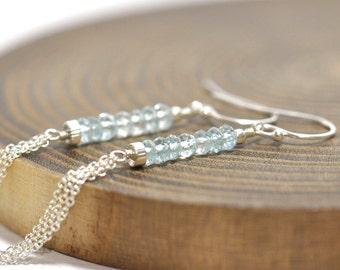 Aquamarine Earrings, March Birthday, Linear Earrings, Aquamarine Jewelry, Wife Gift, Ombre Aquamarine Earrings Gold or Silver