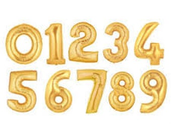 """GIANT 40"""" Gold Number Balloons - Gold Birthday Number Balloons"""