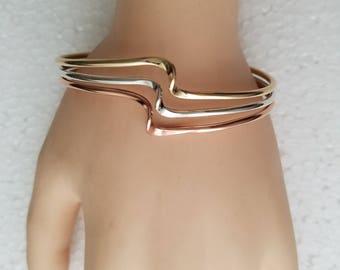 Sterling copper and brass cuff bracelet