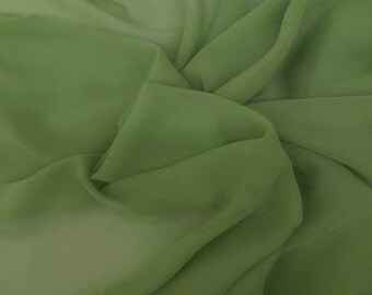 "JN00091 Moss Green Chiffon Soft Smooth Lightweight Deep Draping Sheer Fashion Home Decor 58/60"" Fabric By The Yard"