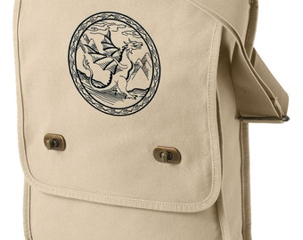 The Dragon and His Wrath Embroidered Canvas Field Bag