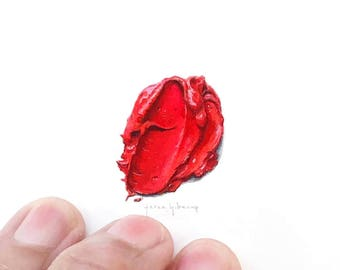 """Print of miniature painting of red paint blob .  1 1/4"""" x 1 1/4"""" print of tiny watercolor red paint swatch oil paint"""