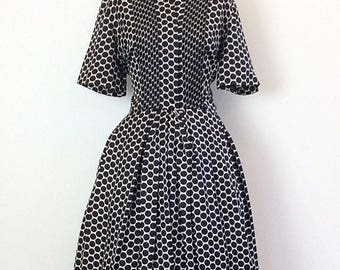 1950s Geometric Print Fit and Flare Dress Large
