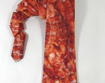 Bacon tie, food tie, bacon gift, mens tie, bacon accessory, bacon grease, bacon necktie, foodie necktie