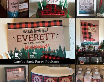 Lumberjack Party Package. Buffalo Plaid and Trees Birthday Party Package. Includes Invite. *Digital Files*