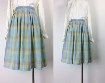vintage cotton plaid pleated midi skirt size S/M