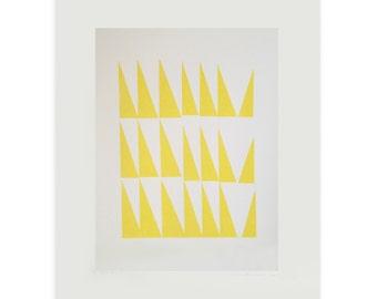 Mid century Modern handmade screenprint, original abstract large wall art, yellow triangles by Emma Lawrenson.