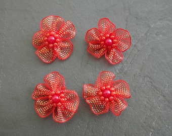 4 flowers in organza and beads 3 cm red scrap colors...