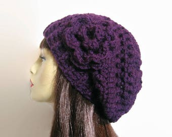 Purple Crochet Slouchy Hat with flower Crochet Beanie Purple Slouch Cap Purple Slouch Knit Beret Purple Hat Crochet Slouch Hat Purple beanie