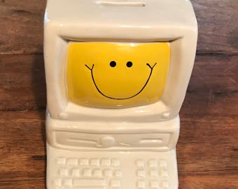 Vintage Ceramic Bank Macintosh Apple with Smiley Face