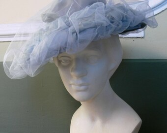 1950s Vintage tulle and organza hat