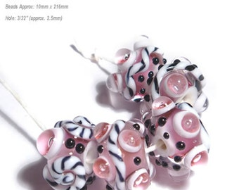 FLIRT WORLD Handmade Lampwork Beads Pinks  Black White Bold Textured Set of 5