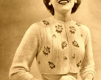 Instant Download PDF Vintage Knitting Pattern to make a Retro 1950's Ladies Chic Cropped Long Sleeved Cardigan or Bolero