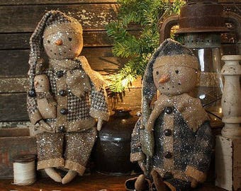 Primitive Christmas Jingle Jangle Snowman Doll Digital PDF Pattern