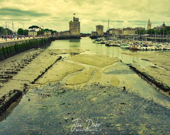 Winter evening on the Port of La Rochelle at low tide