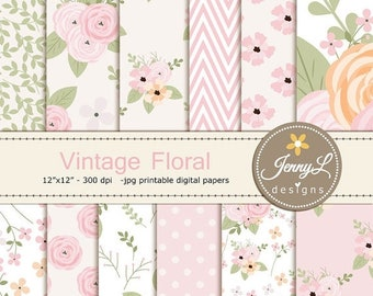 50% OFF Floral digital paper, Vintage Flowers , Antique for Digital scrapbooking, invitations, birthday, wedding, Planners