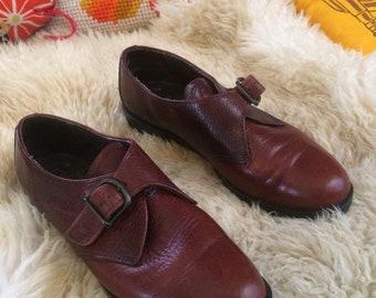 Vintage 70s Brown Leather Dexter Strap Oxford Shoes Size 7.5M