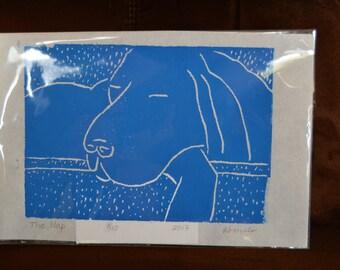 Linoleum Print of a Sleeping Dog