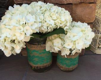 Mason Jar Wrap, Jade Green Lace & Burlap, Mason Jar Decoration, Wedding, Shower, Party, Centerpiece, Decoration