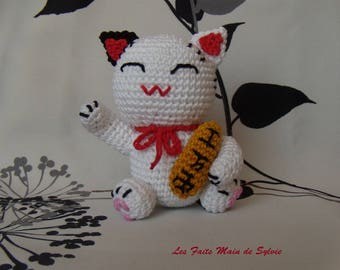 Maneki neko Japanese cat brings good luck crochet
