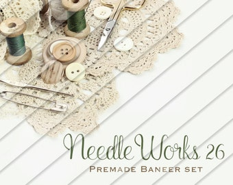 "Etsy Shop Banner Set - Graphic Banners - Branding Set - ""Needle Works 26"""