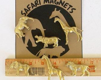 Animal Magnets! Set of 6 Gold Magnets + Gift Tin, Gold Magnets, Safari Magnets, Zoo, Desk Accessory, Stocking Stuffer, Safari Theme, Giraffe