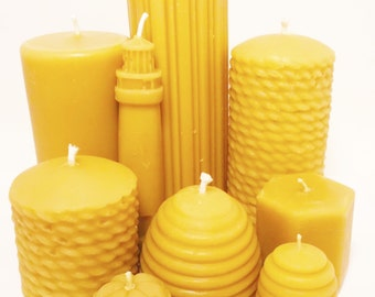Beeswax Candles -  1 kg of Misc. Candles 100% Beeswax Candles