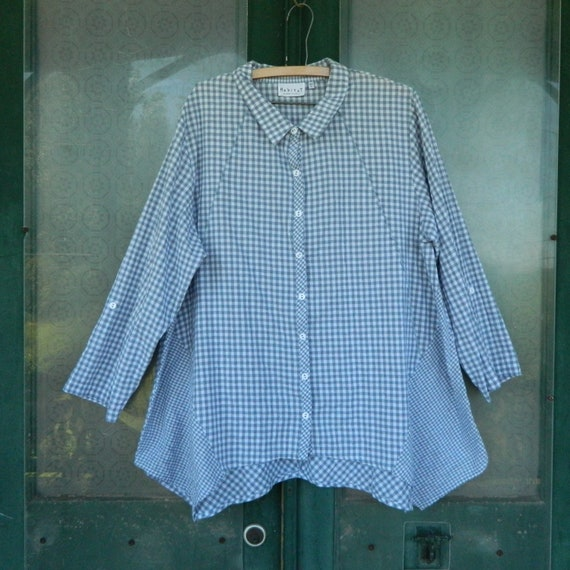 Habitat Gingham Check Button Front Tunic -XL- White and Gray