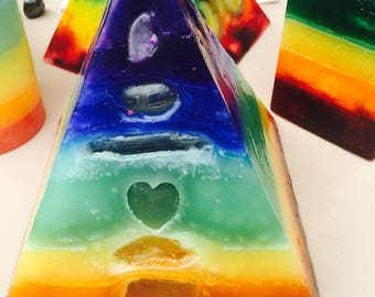 Crystal Candle ~7 Layer Chakra Pyramid Candle with inlaid Crystals and Gemstones that illuminate from within when Lit!