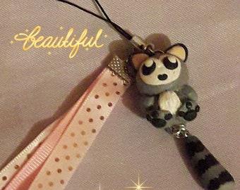 Keychain, bag charm or phone, with little lemur polymer clay