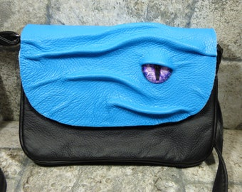 Small Cross Body Purse With Eye Messenger Bag Hocus Pocus Blue Black Leather 380