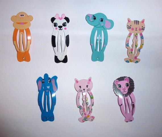 Puppy Bows ~ Set of 7 dog bow animal snap clips Monkey, elephant, panda bear