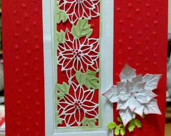 Handmade Christmas Card, Poinsettia Card, Homemade Holiday Card