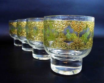 Vintage Culver Cocktail Glasses with Gold Screening in Valencia Pattern. Circa 1960's.
