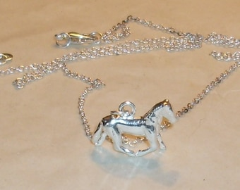 Silver plated Running Horse Necklace